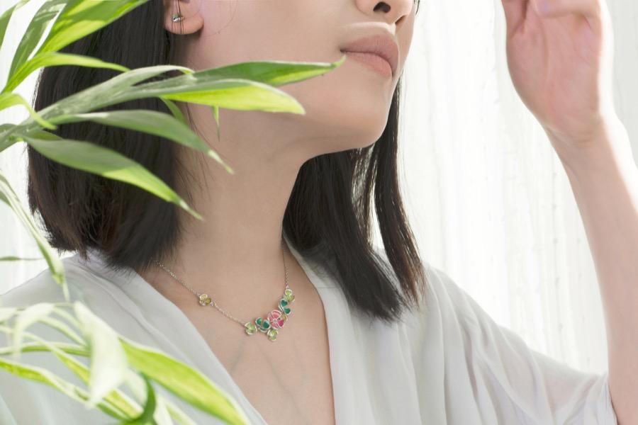 clover necklace-华美款-佩戴-03